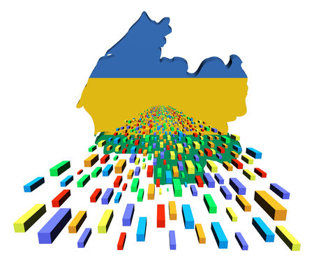 gabon: Gabon map flag with containers illustration