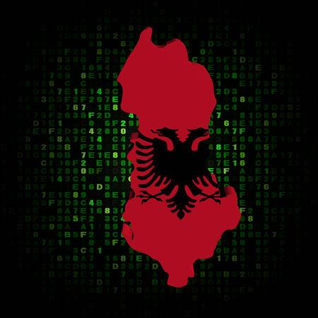 albania: Albania map flag on hex code illustration Stock Photo