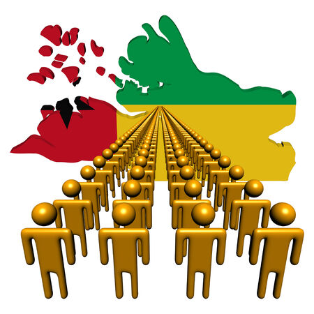 emigration and immigration: Lines of people with Guinea Bissau map flag illustration
