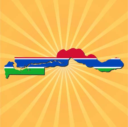 gambia: The Gambia map flag on sunburst illustration