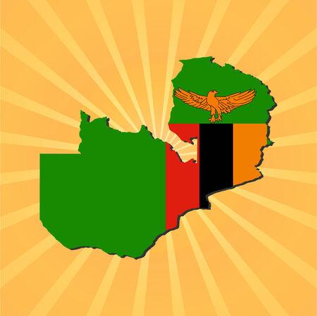zambia: Zambia map flag on sunburst illustration