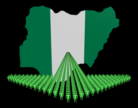 Arrow of people with Nigeria map flag illustration illustration