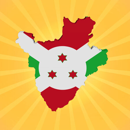 burundi: Burundi map flag on sunburst illustration