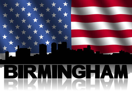 birmingham: Birmingham skyline and text reflected with rippled American flag illustration