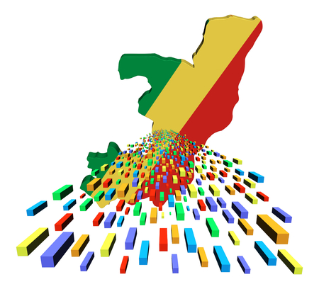 congo: Republic of Congo map flag with containers illustration