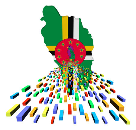 dominica: Dominica map flag with containers illustration