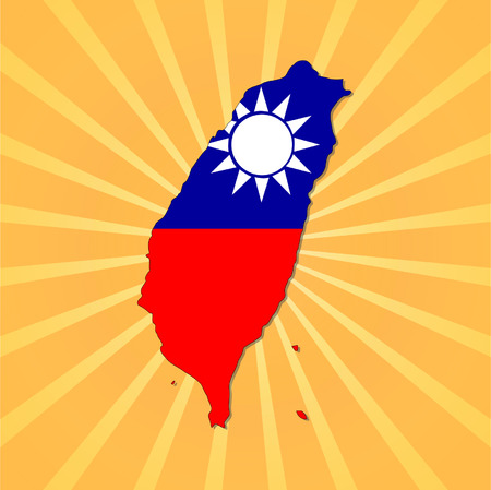 Taiwan map flag on sunburst illustration Vector