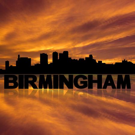 birmingham: Birmingham skyline reflected with text and sunset illustration