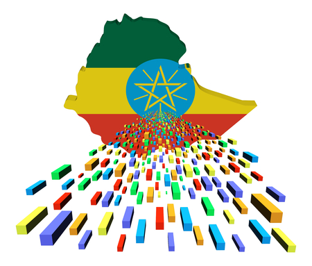 ethiopia abstract: Ethiopia map flag with containers illustration Stock Photo
