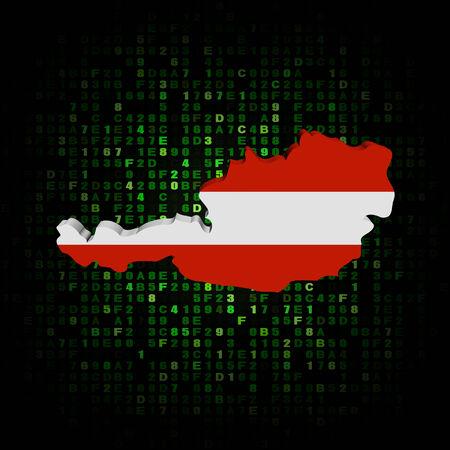 hex: Austria map flag on hex code illustration