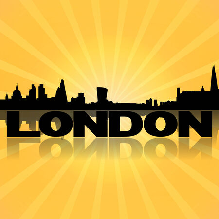 London skyline reflected with sunburst illustration illustration