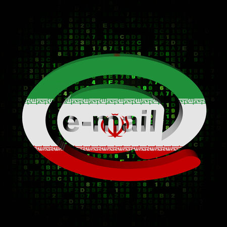 iranian: e-mail address AT symbol with Iranian flag on hex illustration Stock Photo