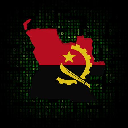 map of angola: Angola map flag on hex code illustration