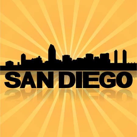 san diego: San Diego skyline reflected with sunburst vector illustration