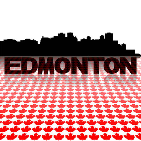 edmonton: Edmonton skyline with maple leaves foreground vector illustration