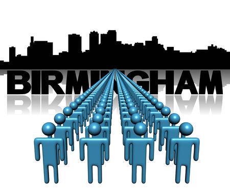 birmingham: Lines of people with Birmingham Alabama skyline illustration