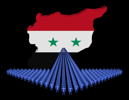 Arrow of people with Syria map flag illustration illustration