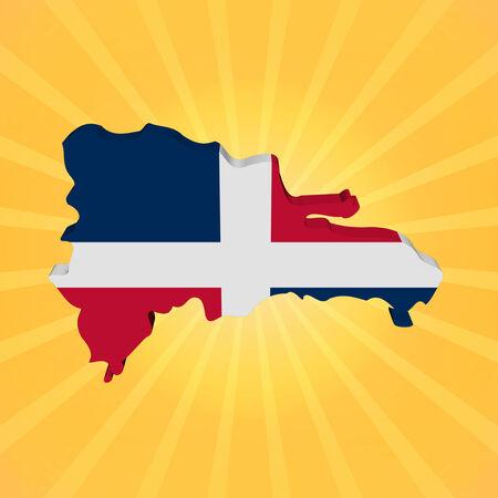 Dominican Republic map flag on sunburst illustration illustration