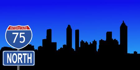 interstate: Atlanta skyline with interstate 95 sign vector illustration