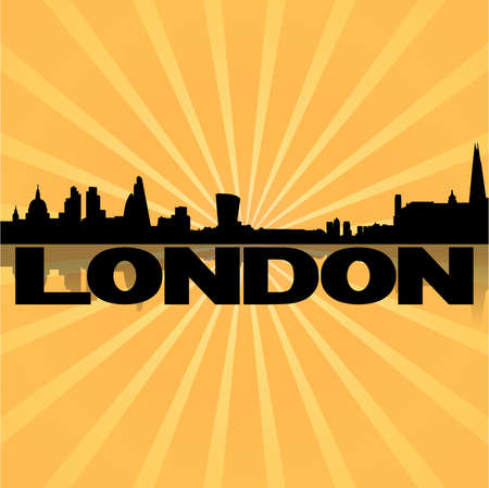 London skyline reflected with sunburst vector illustration Vector