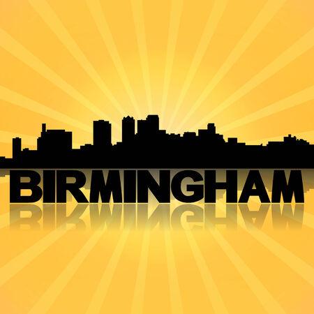 birmingham: Birmingham Alabama skyline reflected with sunburst illustration Stock Photo
