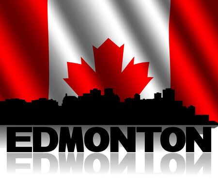 canadian flag: Edmonton skyline and text reflected with rippled Canadian flag illustration Stock Photo