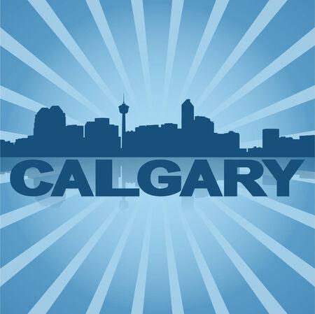 calgary: Calgary skyline reflected with blue sunburst vector illustration
