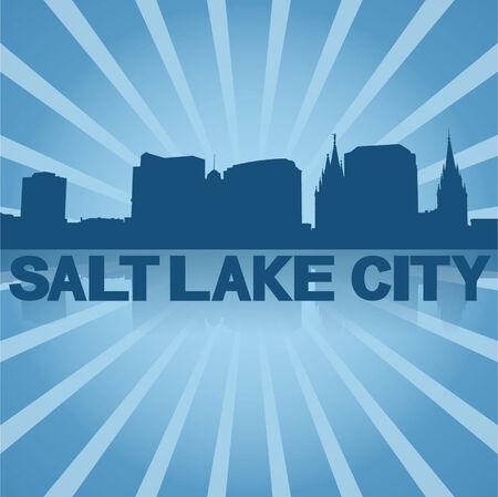 salt lake city: Salt Lake City skyline reflected with blue sunburst vector illustration Illustration