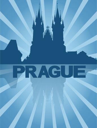 Tyn Church Prague reflected with blue sunburst vector illustration Vector