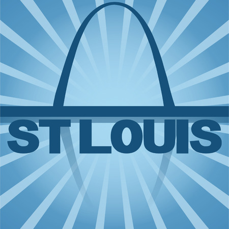 st  louis arch: St Louis skyline reflected with blue sunburst vector illustration Illustration