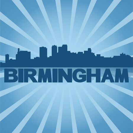 birmingham: Birmingham skyline reflected with blue sunburst illustration