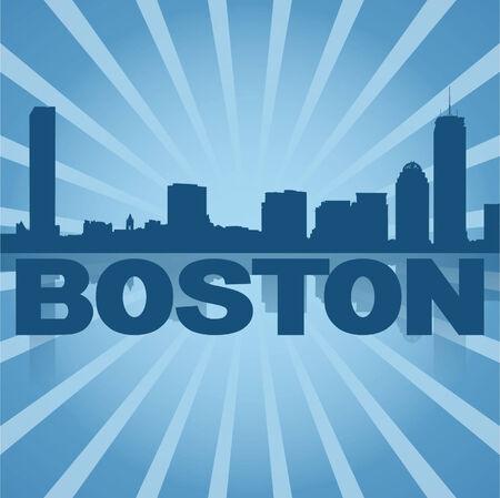 boston skyline: Boston,skyline reflected with blue sunburst illustration