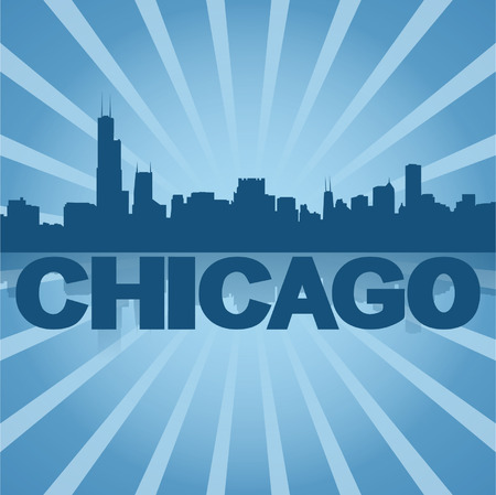 chicago skyline: Chicago skyline reflected with blue sunburst illustration