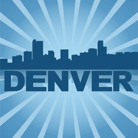 denver: Denver skyline reflected with blue sunburst illustration
