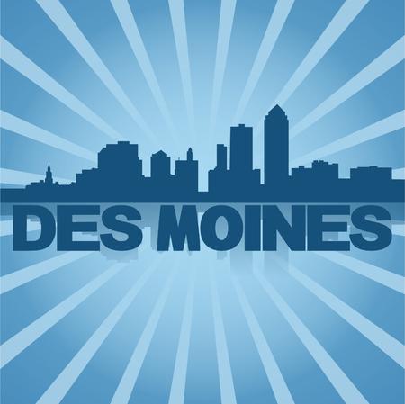 reflected: Des Moines skyline reflected with blue sunburst illustration Illustration