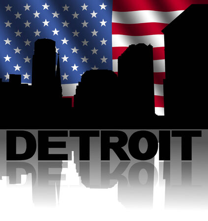 Detroit skyline and text reflected with rippled American flag illustration illustration