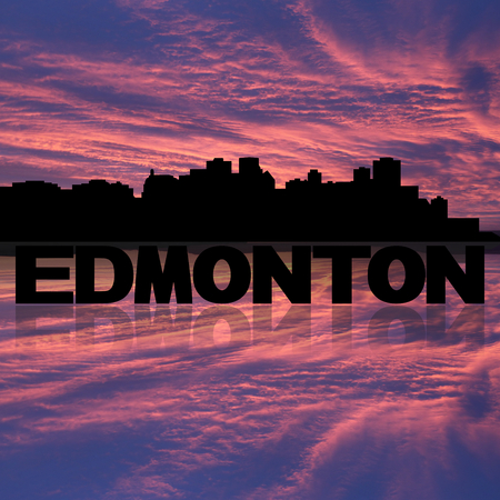 edmonton: Edmonton skyline reflected with text and sunset illustration Stock Photo