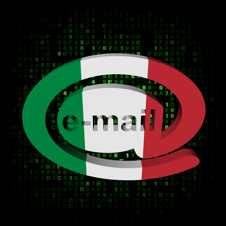 e-mail address AT symbol with Italy flag on hex illustration illustration