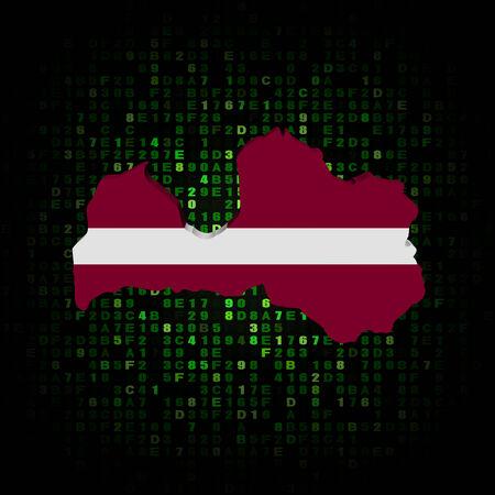 hex: Latvia map flag on hex code illustration Stock Photo