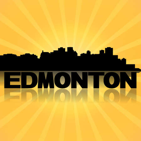 edmonton: Edmonton skyline reflected with sunburst illustration