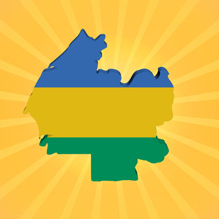 gabon: Gabon map flag on sunburst illustration