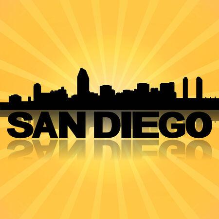 san diego: San Diego skyline reflected with sunburst illustration