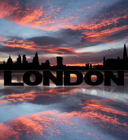 st pauls: London skyline reflected with text and sunset illustration