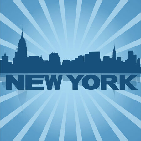new york skyline: New York skyline reflected with blue sunburst  Illustration