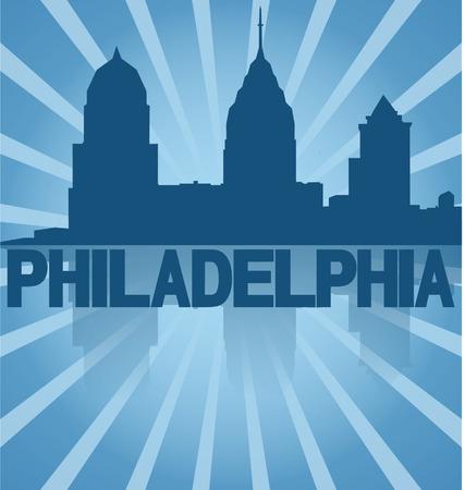 philadelphia: Philadelphia skyline reflected with blue sunburst