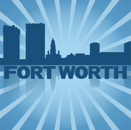 Fort Worth skyline reflected with blue sunburst  Vector