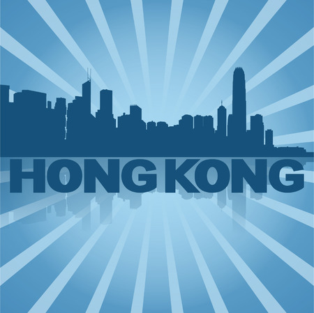 Hong Kong skyline reflected with blue sunburst  Vector