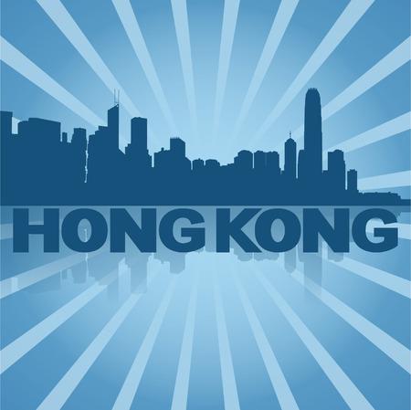 hong kong skyline: Hong Kong skyline reflected with blue sunburst
