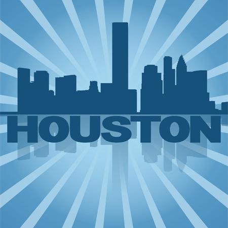 houston: Houston skyline reflected with blue sunburst