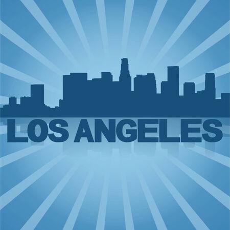 los angeles: Los Angeles Skyline spiegelt mit blauen Sonnendurchbruch
